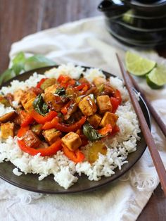 Tofu, Basil and Caramelized Shallot Stir-Fry