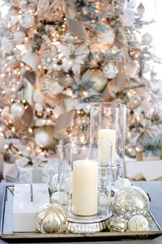 Christmas Home Tour 2017 - Silver and Gold Christmas family room. coffee table tray with pillar candles and mercury gold ornaments - Randi Garrett Design