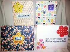 "Handcrafted by Teal Palmetto, LLC.  This notecard set, in shades of navy blue, yellow, pink, red, and mint green, is bright and happy.  You get one ""Many Thanks"" card, one ""Thank U"" card, one ""Hello"" card, and one ""Your Kindness Is Truly Appreciated"" card.  Price: $10."