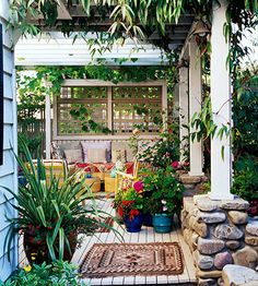 Add Vines  Vines such as wisteria, trumpet vine, and grapes, are perfect for creating shade, even in the sunniest spot. Let them ramble over a pergola to create a soft, filtered shade -- and beautifully elegant garden room