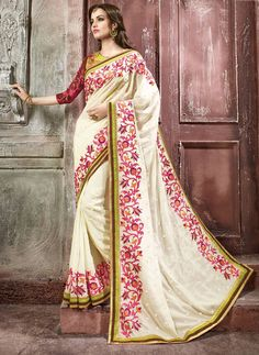 Off White Georgette Wedding Saree 65311