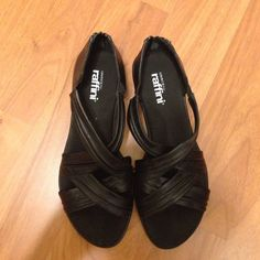 """Black summer sandals Umberto Raffini sandals with zip at back and 0.5"""" platform heels. Leather upper and leather sole. Bought this from walking company, very comfortable and looks great with dresses and jeans. Worn couple of times, in great condition. Umberto Shoes Sandals"""