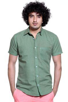 Olive Green Linen Short-Sleeve Shirt