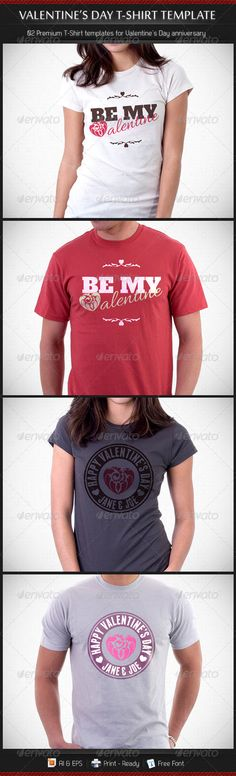 #Valentine's Day T-shirt #Template  - Events #T-Shirts Download here: https://graphicriver.net/item/valentines-day-tshirt-template-/3942515?ref=alena994