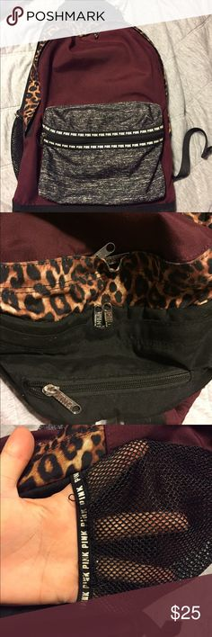 Victoria's Secret Backpack Excellent condition- very small tear on one of the water bottle holders. Has four pockets and includes a laptop sleeve. Has speckled gray, cheetah print, black, and maroon coloring. PINK Victoria's Secret Bags Backpacks
