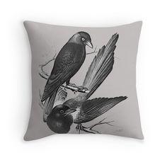 Vintage magpie and jack daw -black&white
