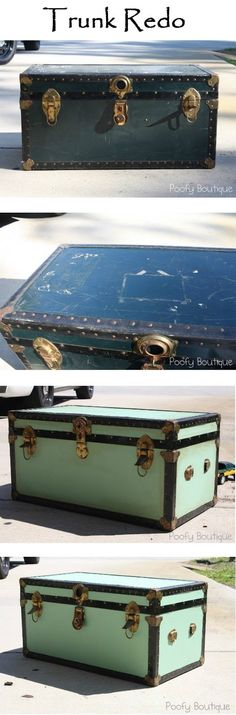 Trunk Redo I have a nearly identical before trunk I'm thinking different colors, put it at the foot of my bed and turn it into a command center for all my DIY crafting madness. Source by igottatrythis Related