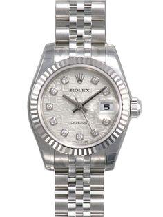 Rolex Datejust Silver Jubilee Diamond Dial Jubilee Bracelet 18k White Gold Fluted Bezel Ladies Watch 179174SJDJ