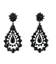 Jose and Maria Barrera Rhodium & Jet Teardrop Earring