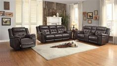 Shop Anniston Dark Brown Faux Leather Living Room Set with great price, The Classy Home Furniture has the best selection of to choose from Leather Living Room Set, Sparrows, Sofa, Couch, Beautiful Living Rooms, Living Room Sets, Recliner, Dark Brown, Love Seat