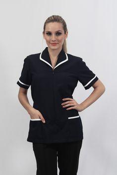 Jaleco feminino manga curta com zíper invisível, gola italiana e dois bolsos chapados - Uniforme profissional