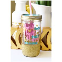 Hands Full Heart Full Happy Mama Glitter Tumbler Mason Jar Tumbler... ($25) ❤ liked on Polyvore featuring home, kitchen & dining, drink & barware, drinkware, gold, home & living, tumblers & water glasses, colored jars, glitter jars and lidded jars