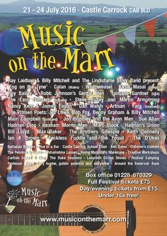 Music on the Marr http://www.cumbriacrack.com/wp-content/uploads/2016/05/MoM-2016-poster-A4-lo-res.jpg Music on the Marr , Cumbria's most friendly musical event, returns 21 to 24 July this year. The village festival with the feel good factor will feature Ray Laidlaw & Billy Mitchell    http://www.cumbriacrack.com/2016/05/23/music-on-the-marr/