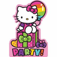 Hello Kitty Rainbow Invitations, Pink