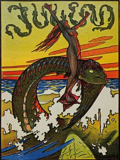 An poster sized print, approx (other products available) - A sea serpent mounted by a mermaid Date: 1897 - Image supplied by Mary Evans Prints Online - Poster printed in the USA Magazine Illustration, Illustration Art, Vintage Illustrations, Vintage Artwork, Fine Art Prints, Framed Prints, Canvas Prints, Tarot, Jugendstil Design