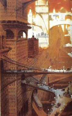 """William Robinson Leigh. """"Visionary City"""" (1908). (via)"""