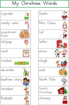 List of words for writing center...Christmas words before the ...