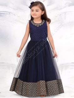 Navy blue foam with sequance embroidery banglori silk and net fabric designer partywear gown dress for girls wear - White Button - 2631120 Frocks For Girls, Gowns For Girls, Little Girl Dresses, Girls Dresses, Kids Party Wear Dresses, Girls Party Wear, Girls Wear, Kids Party Wear Frocks, Party Frocks