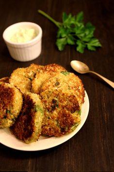 Quinoa Cauliflower Patties with Garlic Cream2
