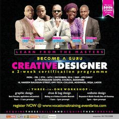 1-Day To Go: Mouth watering benefits await you as you attend this Vocational Training 2016   VIVID-VIEW CONCEPTSpresents  VOCATIONAL TRAINING 2016  Tagged:  BECOME A GURU CREATIVE DESIGNER  a 2-week certification programme  On 5th - 16th December 2016 by 9am - 4pm  @ FOURSQUARE GOSPEL CHURCH AGIDINGBI  18 Hakeem Balogun Street Opp. Technical College Agidingbi Ikeja Lagos  Are you: a Business Centre Owner/Manager/Staff a Production Agency a School Cert Holder an Unemployed Youth or a…