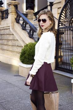 crop sweater and skater skirt