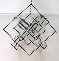 Beveled Glass Mobile,  Leaded Stained Glass, Modern Home Decor, Art Glass Sculpture, Geometric Hanging Mobile, Suncatcher