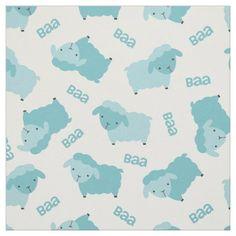 Cute Blue Sheep Fabric - baby gifts child new born gift idea diy cyo special unique design