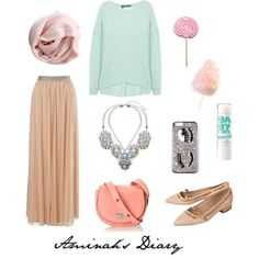 http://aminahshijabdiary.wordpress.com/ #hijab #fashion #style #look #ootd #outfit #skirt #jumper #candy #nude #beige #mint #pink #rose
