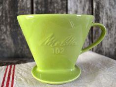 Vintage Melitta 102 Green Ceramic Coffee by shabbyfrenchvintage