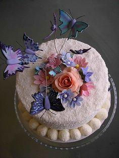 rafaelo butterflies cake by bubolinkata, via Flickr
