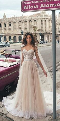 Hottest 21 Wedding Dresses Fall 2018 ❤️ a line blush wedding dresses with lace princess capes julie vino fall 2018 bridal collection ❤️ See more: http://www.weddingforward.com/wedding-dresses-fall-2018/ #wedding #bride #bridalgown