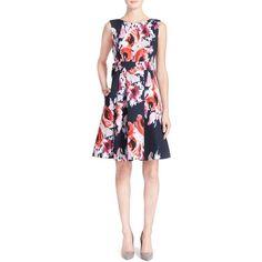 kate spade new york floral print fit & flare dress (6.685.655 VND) ❤ liked on Polyvore featuring dresses, ink multi, v back dress, floral dress, botanical dress, flower print dress and floral pattern dress