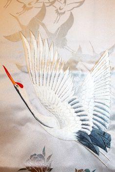 Japanese Vintage Silk Kimono Fabric - Embroidered Fly Cranes / Chrysanthemum