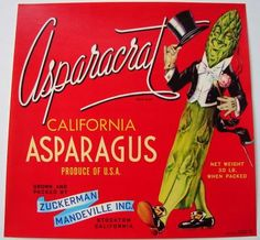 Vintage crate label Asparagus