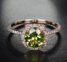 7mm VS Peridot 14k Rose Gold Pave Diamonds Engagement/Promise Halo Wedding Ring on Etsy, $329.00 - LOVELY
