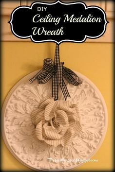 Priscillas: DIY Ceiling Medallion Wreath With Book Page Rose