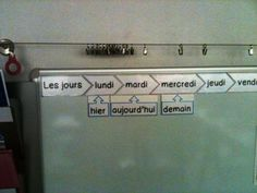 Great idea for practicing the date and adverbs. Classroom Tools, Classroom Design, Future Classroom, Classroom Organization, Classroom Management, French Basics, French For Beginners, French Days, Core French