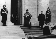 Controversial wartime Vatican figure Monsignor Cesare Orsenigo leaves a reception hosted by Adolf Hitler. Picture: Keystone/Getty