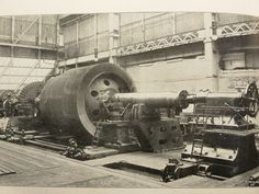 The photo shows one of Mauretania's LP rotors in at Wallsend Slipway & Engineering,The finished LP rotors weighed 125 tons. Each LP rotor had no less than 50,000 blades. These were fitted in only two weeks,The Mauretania went into service in 1907.
