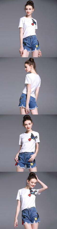 A Lady Outfit Birds Embroidery Summer New Cartoon Sequins White T-Shirt Hole Burrs Cowboy Short Pants Denim Suit Two Piece Set