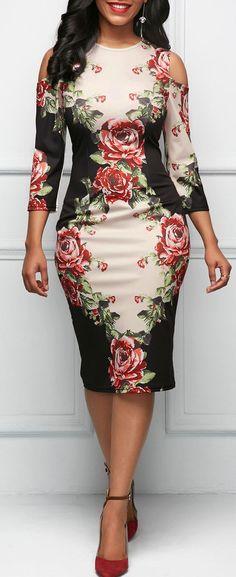 Three Quarter Sleeve Cold Shoulder Flower Print Dress.