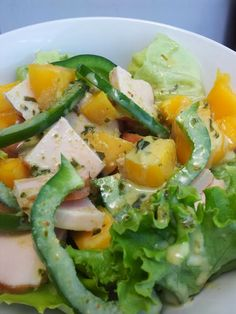 Hungry Hubby And Family: COHEN DIET: Chicken Mango Salad with Basil Salad Dressing