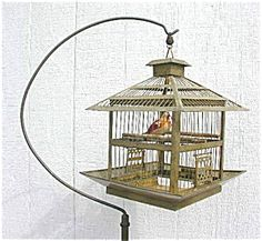 Antique Brass Bird Cage and Stand Edwardian Hendryx Mission Style (Image1)