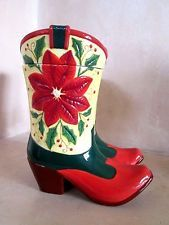 Christmas Poinsetta Western Cowboy Boots Ceramic Cookie Jar Double 2003