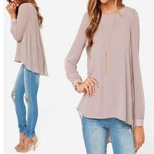 Ladies Office Shirts 2015 New Arrival Women Clothing Vintage European Style Nude Long Sleeve Pleated Back Blouse Vestidos  From plonlineventures.com At Your Aliexpress link