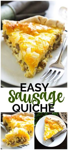 Easy Sausage Quiche is easy to make & devour. We make this for breakfast, lunch and dinner. Who would have thought it'd be one of my family's favorites? #quiche #sausage #brunchrecipes