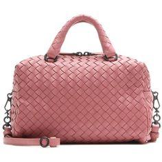 Bottega Veneta Intrecciato Leather Crossbody Bag (3 060 AUD) ❤ liked on Polyvore featuring bags, handbags, shoulder bags, pink, pink shoulder bag, leather crossbody, red purse, leather purses and red leather handbags