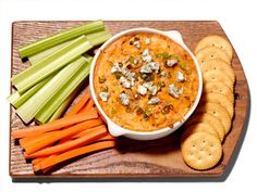 Buffalo Chicken Dip from FoodNetwork.com (hold the crackers - or make wheat free crackers - hemp and flax seed would be good)