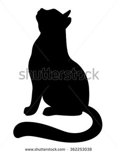 Vector Illustrations Silhouette Cat Looking Stock Vector (Royalty Free) 362253038 Silhouette Images, Cat Silhouette, Silhouette Vector, Animal Line Drawings, Cat Template, Cat Applique, Shrink Art, Free Vector Art, Vector Graphics