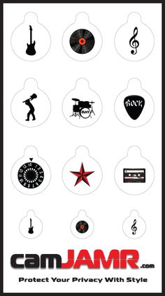 The camJAMR Rocker Pack includes 9 designs: Guitar, Record, G-Clef, Rocker, Drum Set, Guitar Pick, Volume Knob, Star, Casette Tape. Price: $4.99  camJAMR webcam covers are removable, reusable, durable and safe.   Protect Your Privacy With Style!